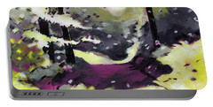 Portable Battery Charger featuring the painting Into The Woods 2 by Anil Nene