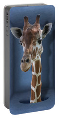 Portable Battery Charger featuring the digital art Introvert - Shy Giraffe by Debi Dalio