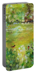 Portable Battery Charger featuring the painting Invincible Spring by Judith Rhue