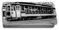 Portable Battery Charger featuring the photograph Inwood Crosstown Trolley  by Cole Thompson
