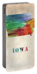 Iowa Colorful Watercolor Map Portable Battery Charger