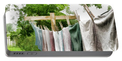 Portable Battery Charger featuring the photograph Iowa Farm Laundry Day  by Wilma Birdwell