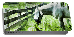Portable Battery Charger featuring the digital art Iowa Farm Pasture And White Horse by Wilma Birdwell