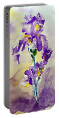 Portable Battery Charger featuring the painting Iris 2 by Jasna Dragun