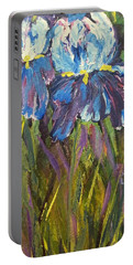 Iris Floral Garden Portable Battery Charger by Claire Bull