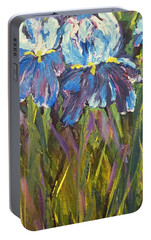 Portable Battery Charger featuring the painting Iris Floral Garden by Claire Bull