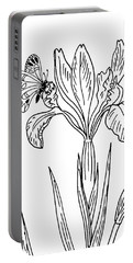 Iris Flower And Butterfly Drawing Portable Battery Charger