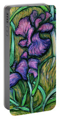 Portable Battery Charger featuring the painting Iris For Vincent - Contemporary Fauvist Post-impressionist Oil Painting Original Art On Canvas by Xueling Zou
