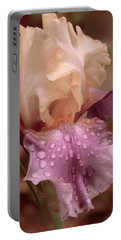 Portable Battery Charger featuring the digital art Iris In The Rain by Bonnie Willis