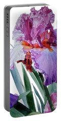 Watercolor Of A Tall Bearded Iris In Pink, Lilac And Red I Call Iris Pavarotti Portable Battery Charger