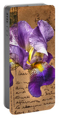 Iris On Vintage 1912 Postcard Portable Battery Charger