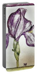 Iris Painted In Purple Portable Battery Charger by Marsha Heiken