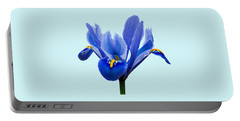 Iris Reticulata Blue Background Portable Battery Charger