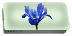 Iris Reticulata, Green Background Portable Battery Charger