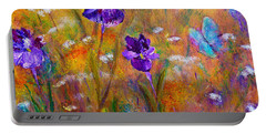 Portable Battery Charger featuring the painting Iris Wildflowers And Butterfly by Claire Bull