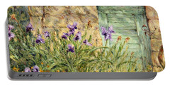 Irises At The Old Barn Portable Battery Charger