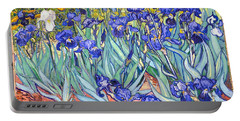 Portable Battery Charger featuring the painting Irises by Van Gogh