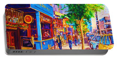 Portable Battery Charger featuring the painting Irish Pub On Crescent Street by Carole Spandau
