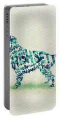 Irish Setter Watercolor Painting / Typographic Art Portable Battery Charger