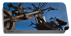 Iron Motorcycle Sculpture In Faro Portable Battery Charger by Angelo DeVal