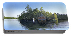 Portable Battery Charger featuring the painting Island Boathouse Muskoka  by Kenneth M Kirsch