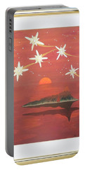 Portable Battery Charger featuring the painting Island In The Sky With Diamonds by Ron Davidson