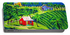 Island Time - Colorful Houses Caribbean Cottages Portable Battery Charger