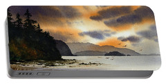Portable Battery Charger featuring the painting Islands Autumn Sky by James Williamson