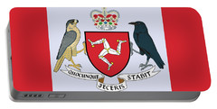 Portable Battery Charger featuring the drawing Isle Of Man Coat Of Arms by Movie Poster Prints