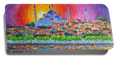 Istanbul Blue Mosque Sunset Modern Impressionist Palette Knife Oil Painting By Ana Maria Edulescu    Portable Battery Charger