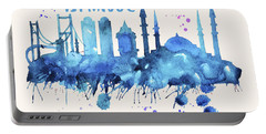 Istanbul Skyline Watercolor Poster - Cityscape Painting Artwork Portable Battery Charger