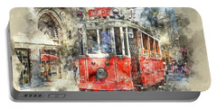 Istanbul Turkey Red Trolley Digital Watercolor On Photograph Portable Battery Charger