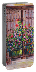 Portable Battery Charger featuring the painting Istanbul Window by Lou Ann Bagnall