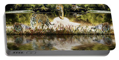 Portable Battery Charger featuring the photograph It Must Be Time For A Tiger Nap by Diane Schuster