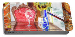 Portable Battery Charger featuring the painting Italian Cafe  by Irina Sztukowski