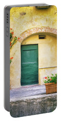 Portable Battery Charger featuring the photograph Italian Facade With Geraniums by Silvia Ganora