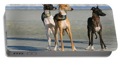 Italian Greyhounds On The Beach Portable Battery Charger