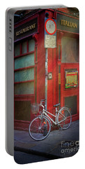 Portable Battery Charger featuring the photograph Italian Restaurant Bicycle by Craig J Satterlee