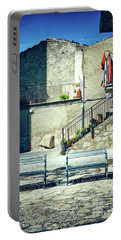 Portable Battery Charger featuring the photograph Italian Square With Benches by Silvia Ganora