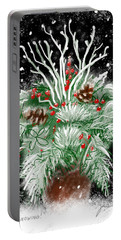 Portable Battery Charger featuring the painting It's Snowing by Jean Pacheco Ravinski