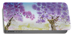 Portable Battery Charger featuring the painting Jacaranda Trees Blooming In Buenos Aires, Argentina by Dorothy Darden