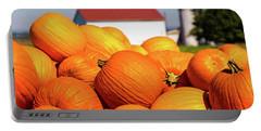 Jack-o-lantern Pumpkins At Farm Portable Battery Charger