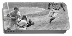 Jackie Robinson Stealing Home Yogi Berra Catcher In 1st Game 1955 World Series Portable Battery Charger