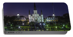 Jackson Square And St. Louis Cathedral At Dawn, New Orleans, Louisiana Portable Battery Charger