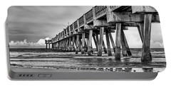 Jacksonville Beach Pier In Black And White Portable Battery Charger