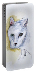 Portable Battery Charger featuring the painting Jade The Cat by Clyde J Kell