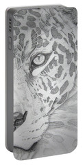 Portable Battery Charger featuring the drawing Jaguar Pointillism by Mayhem Mediums