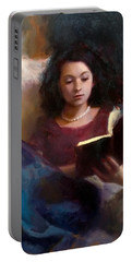 Jaidyn Reading A Book 1 - Portrait Of Young Woman - Girls Who Read - Books In Art Portable Battery Charger