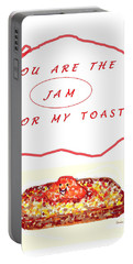 Portable Battery Charger featuring the drawing Jam For My Toast by Denise Fulmer