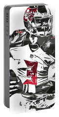 Portable Battery Charger featuring the mixed media Jameis Winston Tampa Bay Buccaneers Pixel Art by Joe Hamilton